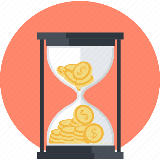 banking, deadline, finance, flat design, hourglass, money, time icon