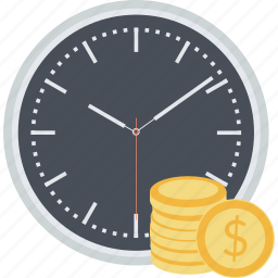 auction, banking, finance, flat design, money, savings, time icon