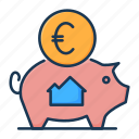 bank, banking, deposit, euro, home savings, money, mortgage icon