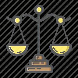 balance, business, finance, judge, law, libra, scale icon