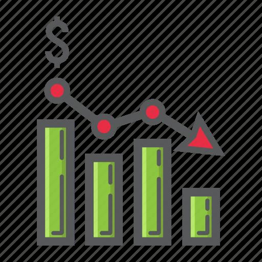 arrow, business, chart, decrease, down, finance, graph icon