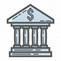 architecture, bank, building, business, dollar, finance, money icon
