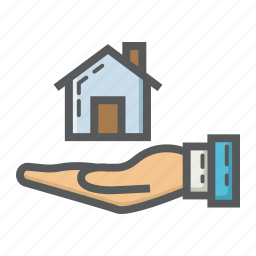 business, buy, finance, hand, home, house icon