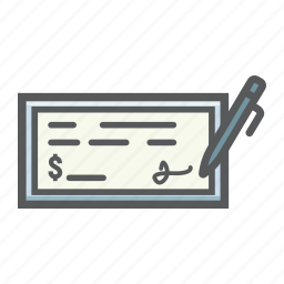 bank, banking, business, check, cheque, finance, pen icon