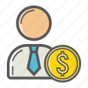 banker, business, businessman, finance, investor, money, person icon