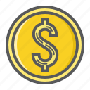 business, coin, currency, dollar, finance, gold, money icon