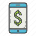 bank, banking, business, finance, mobile, payment, phone icon