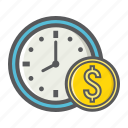 business, clock, deadline, dollar, finance, money, time icon