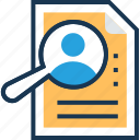 find job, human resource, job search, magnifier, recruitment icon