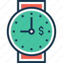 dollar, hand watch, time is money, watch, wrist watch icon