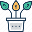 business growth, financial growth, growth, money plant icon