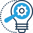 bulb, cogwheel, idea, idea develop, marketing idea icon