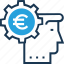 business idea, creativity, euro, head, idea icon
