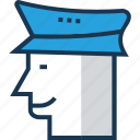avatar, police hat, policeman head, security guard, security hat icon