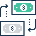 dollar, exchange, money changer, money exchange, paper money icon