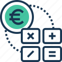 accounting, banking, euro, finance, math symbols icon