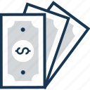 banknotes, cash, dollar, paper money, paper note icon