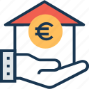 euro, home, loan, mortgage loan, secure icon