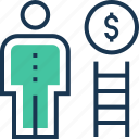 achievement, business success, dollar, ladder, success icon