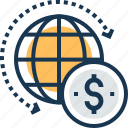 dollar, global business, global finance, globe, worldwide icon