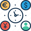 clock, investment, time efficiency, time management, user icon