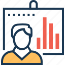 analytics, bar graph, economist, presentation, statistics icon