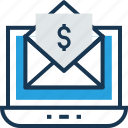 dollar, email, envelope, inbox, mail icon
