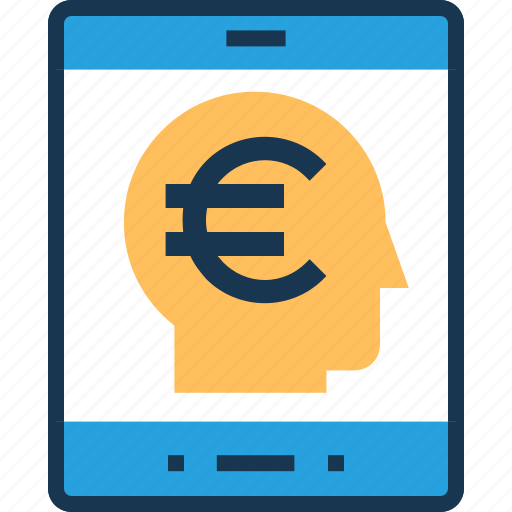 e transaction, euro, mobile banking, mobile finance, online banking icon