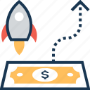business growth, finance, launch, missile, paper money icon