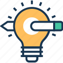 aim, bulb, define goal, idea, objective icon