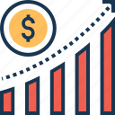 bar graph, dollar, finance, growth, stock market icon
