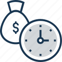 dollar sack, money, moneybag, save money, time icon