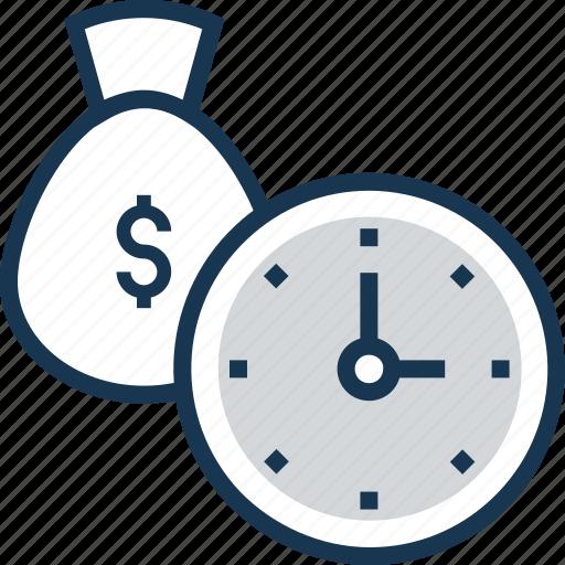 dollar sack, money, moneybag, save money, time icon