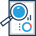 analysis, analytics, magnifier, market analysis, search icon