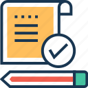 business report, documents, pencil, report, sales report icon