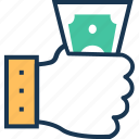 cash, hand, money, notes, payment icon