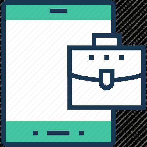 briefcase, mobile, mobile marketing, smartphone icon