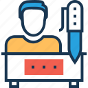 accountant, office work, pen, pencil, work icon