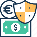 banknote, money security, paper money, protection, shield icon