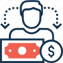 dollar, earning, employee salary, income, salary icon