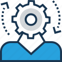 account setting, cog, cogwheel, man, manager icon