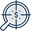 banking, dollar, financial, fund hunting, magnifier icon