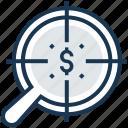 banking, dollar, financial, fund hunting, magnifier