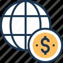 business, dollar, financial, globe, international icon