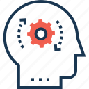 cog, head, planning, strategy, thinking icon