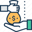 funding, give, investment, money sack, payment icon