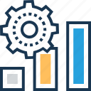 analytics, bar chart, cog, performance, productivity icon