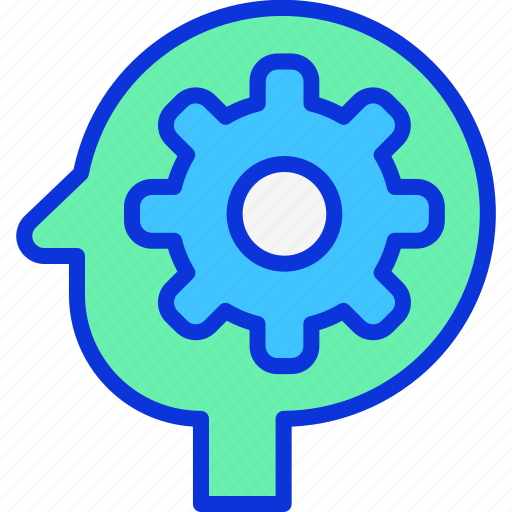 brain, brainstroming, gear, idea icon