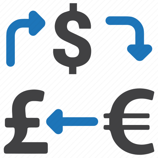 cash, coins, conversion, currency exchange, dollar, euro, money icon
