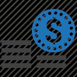 coin, dollar, finance, money, savings, stacks, wealth icon